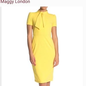 Maggy London  Dress . Yellow Color .